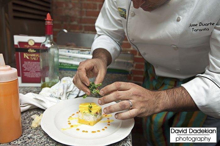 Taranta's Chef Jose Duarte plating his Jonah Crabmeat Causa