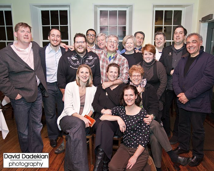 standing: Champe Speidel of Persimmon, Derek Wagner of Nick's on Broadway, Matt Jennings of Farmstead, Inc., Jules Ramos of Eleven Forty Nine, Bob Burke of Pot au Feu, Bruce Tillinghast of New Rivers, Johanne Killeen of Al Forno, Casey Riley of Newport Restaurant Group, Ann Burke of Pot au Feu, Beau Vestal of New Rivers, Ed Reposa of Thee Red Fez, George Germon of Al Forno; seated: Kate Jennings of Farmstead, Inc., Julie Nahas of 3 Steeple Street, Deborah Norman of Rue De L'Espoir; in front: Kristin Gennuso of Chez Pascal