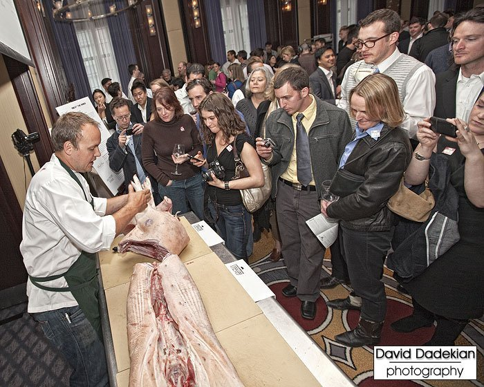 Chef Ryan Farr from 4505 Meats in San Francisco doing the pig butchery demonstration with a Tamworth/Berkshire/Large Black pig from North Plain Farm in Great Barrington, Massachusetts