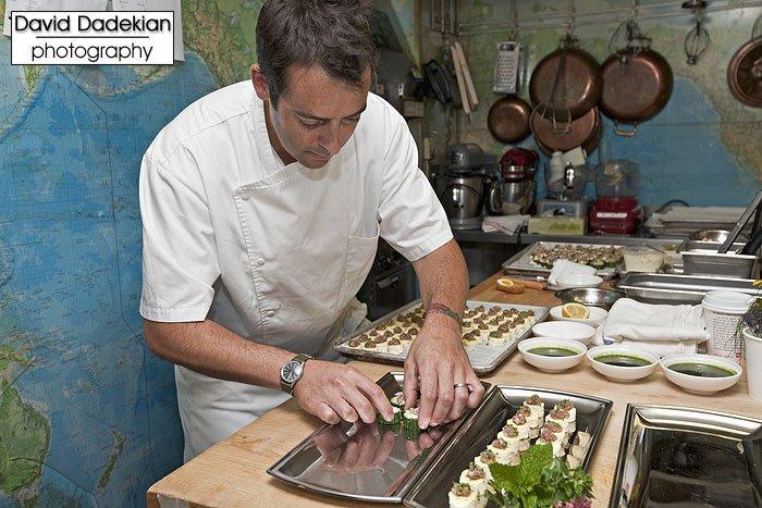 Chez Pascal's Chef Matt Gennuso preparing hors d'oeuvres