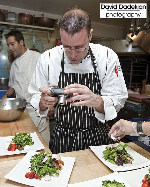 Couldn't resist making sure to get these two photos, first Chef Kevin Thiele photographing the salad course