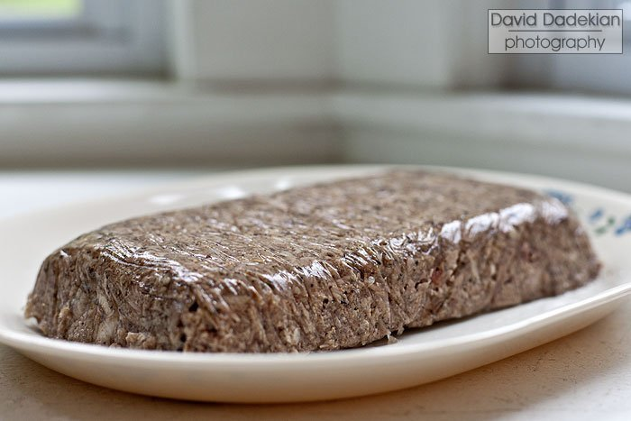 Side view of the terrine, I went with loaf-shaped thinking it will be good for sandwiches.