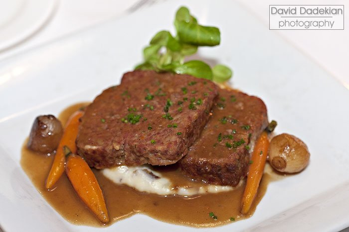 Blackbird Farm Meatloaf with smashed red potatoes, roasted carrots and onions, thyme gravy