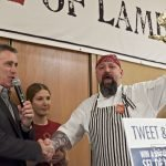 from the 2012 Lamb Jam: The Red Lion Inn's Executive Chef Brian Alberg accepts his Best in Show trophy from host Billy Costa with Oleana's Cassie Piuma and Farmstead's Matt Jennings looking on