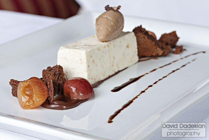 Gracie's Rainier Cherry dessert: Almond Nougat Semifreddo, Dark Chocolate Mousse, Balsamic Rainier Cherries, Flourless Chocolate Cake, Chocolate Cherry Ganache and a Chocolate Balsamic Drizzle