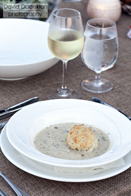 Castle Hill Inn's Clam Chowder with black pepper biscuit