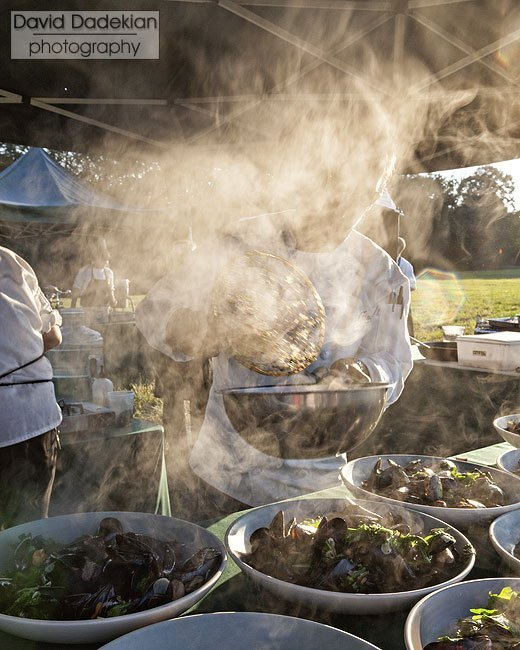 Matthew Varga in a haze of mussel steam