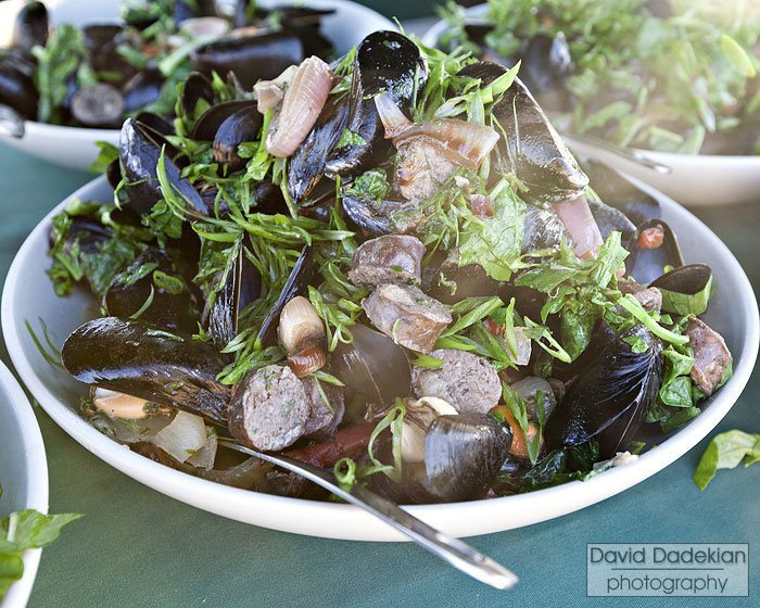 Saltwater Farms mussels, Aquidneck sausage, grilled onions, sweet basil