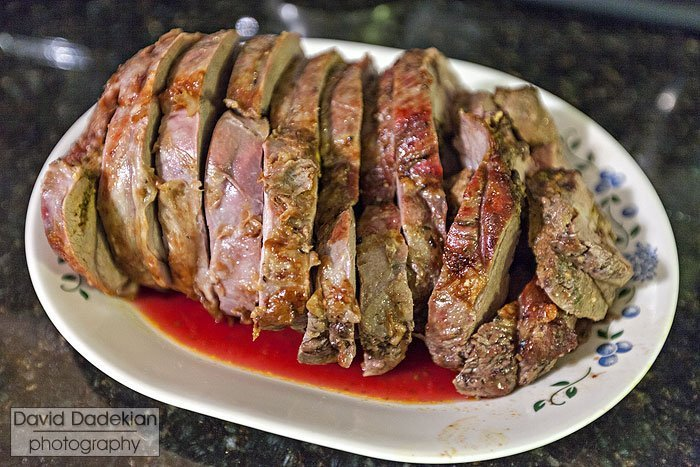 Leg of lamb, roasted and sliced