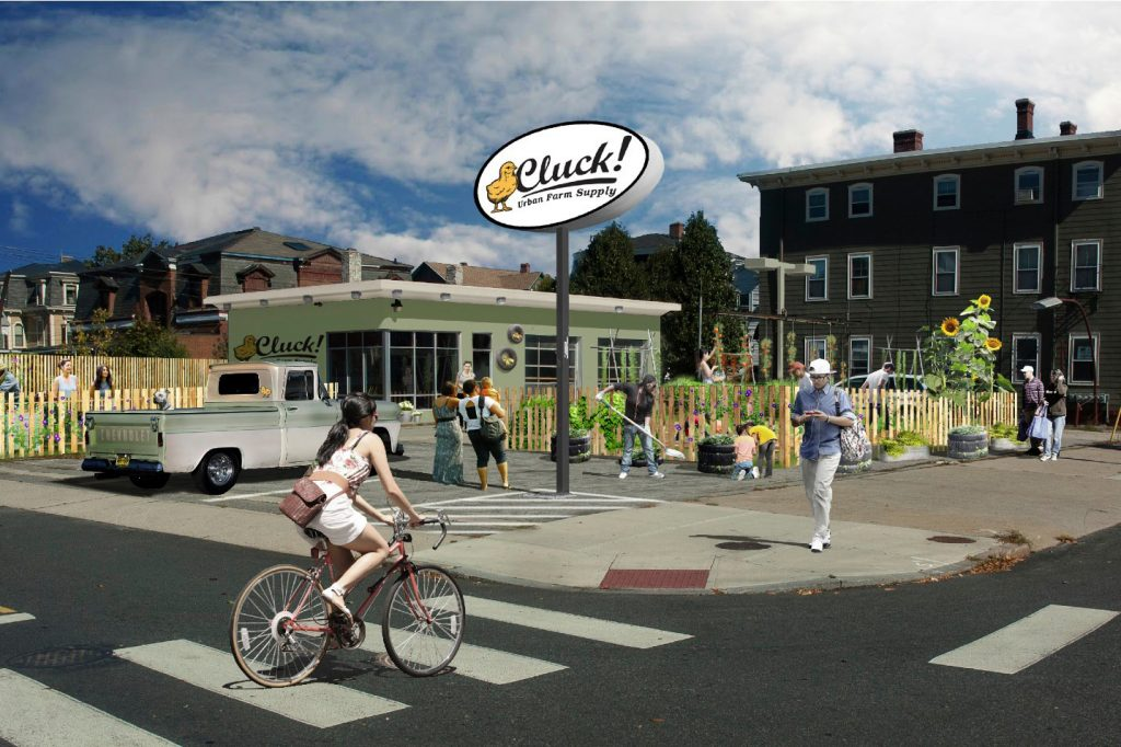 Cluck! Urban Farm Supply artist rendition of exterior