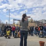 Drake Patten (in foreground) speaking to crowd at Cluck! on April 14, photo courtesy of Mike Ritz