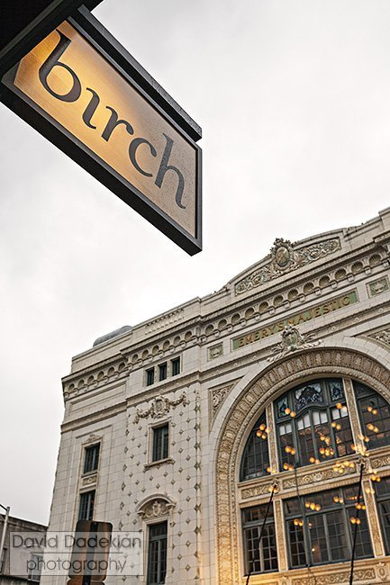 birch with Trinity Repertory Company theater across Washington Street