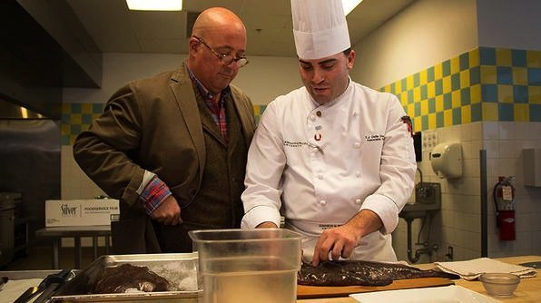 Bizarre Foods America's Andrew Zimmern with Johnson & Wales University Chef Instructor T.J. Delle Donne, photo courtesy of Travel Channel
